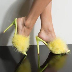 Cape Robbin Yellow Feather Sandal Heel